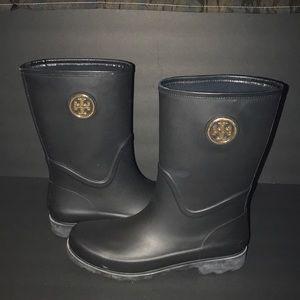 Black Tory Burch Maureen Rain Boots size 11❤️❤️☔️